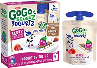 GoGo squeeZ YogurtZ, Berry, 3 Ounce (4 Pouches), Low Fat Yogurt, Gluten Free, Pantry-friendly, Recloseable, BPA Free Pouches (Packaging May Vary)