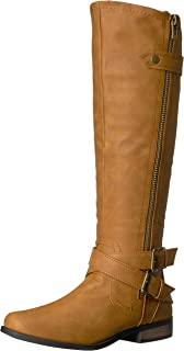 Rampage Women's Hansel Zipper and Buckle Knee-High Riding Boot,Cognac Sn Cognac Smooth,7 B(M) US Regular Calf