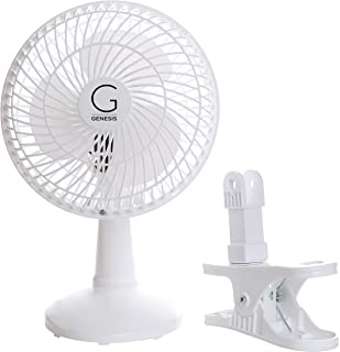 Genesis 6-Inch Clip Convertible Table-Top & Clip Fan Two Quiet Speeds - Ideal For The Home, Office, Dorm, More White