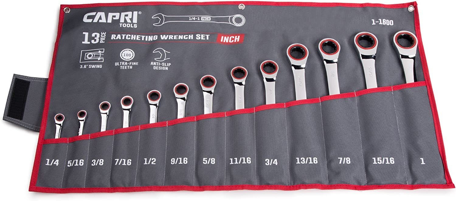 Capri Tools Ratcheting Wrench Set, True True True 100-Tooth, 3.6-Degree Swing Arc, 1 4 to 1 in, SAE, 13-Piece in a Heavy Duty Canvas Pouch B074JJHQGL   Ruf zuerst  e7f3d6