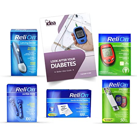 Diabetes Relion Bundle of 05 Products + Free Better Idea Guide - Glucose Monitoring System | Lancing Device | STERILE Alcohol SWABS 100ct | Test Strips 50ct | Ultra-Thin LANCETS 30G 100ct