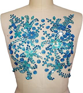 Pure Handmade Beaded Bright Sew on Rhinestone Crystal Trim Sewing Beaded Flower Appliques for Wedding Dresses Patches Waist Decoration Chest Waist Accessory 10.6x12.2″ (Baby Blue)