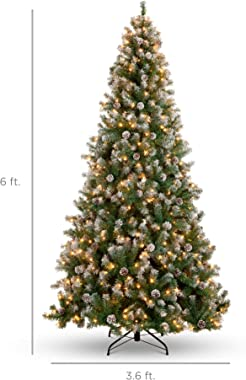 Best Choice Products 6ft Pre-Lit Pre-Decorated Pine Hinged Artificial Christmas Tree w/ 1,000 Flocked Frosted Tips, 59 Pine C