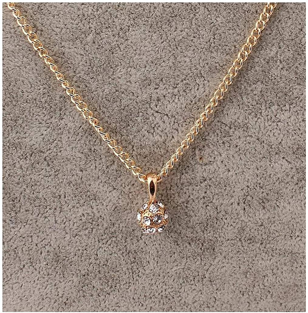 Xileg Simple Crystal Pendant Ball Rhinestone Long Collars Necklaces & Pendants Gold Necklace