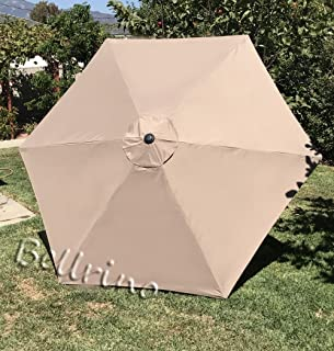 BELLRINO Replacement Umbrella Canopy for 9ft 6 Ribs Tan/Light Coffee (Canopy Only)