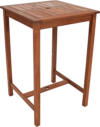 popular Sunnydaze high quality Meranti Wood 27.5-Inch Square Bar Height Table with Teak Oil Finish - High Top Outdoor Pub Table - online sale Perfect for Outdoor Entertaining and Dining - Ideal for the Patio, Balcony, Yard and Garden online