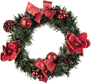 Clever Creations Artificial Christmas Wreath with Pine Cones and Red Ornaments 10