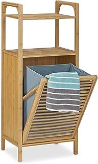Relaxdays Estantería con cesto de la Colada, Dos estantes, Mueble de baño, 25L, 95x40x30 cm, 1 Ud, Bambú, Marrón Natural
