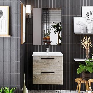 Crocket meuble salle de bain wc Aragats avec vasque et miroir - en bois chêne - meuble sous lavabo de rangement - 57 x 60 ...