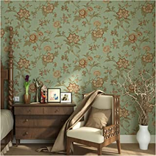 Blooming Wall Vintage Green Floral Wallpaper Wall Mural for Livingroom Bedroom Kitchen Bathroom, 20.8 In32.8 Ft=57 Sq.ft,Multicolor (K2-A8)