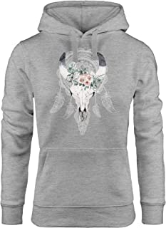 LOOVEE Langarmshirt Damen Motiv Halloween Totenkopf Blumen Off Shoulder Pullover Sweatshirt Frauen Elegant Pulli Langarm T-Shirt Teenager M/ädchen Oversize Bedrucktes Shirts Oberteil Bluse Hemd Tops