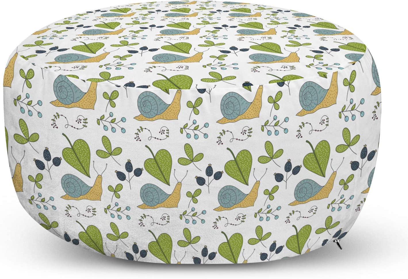 Ambesonne Snails Ottoman Regular store Quality inspection Pouf Botanical Concept S of Leaves and