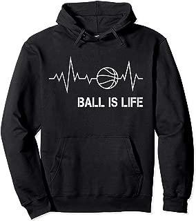 Basketball Heartbeat Pulse Big Ball Is Life Hoop Baller Pullover Hoodie
