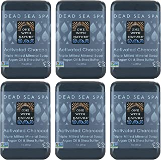 DEAD SEA MINERAL CHARCOAL SOAP 6 PK, Dead Sea Salt Includes Sulfur, Magnesium, etc. Shea Butter, Argan Oil. All Skin Types, Problem Skin. Acne, Eczema, Psoriasis, Natural, Therapeutic 7oz