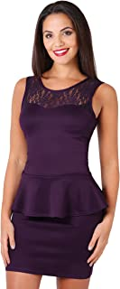 Womens Party Club Cocktail Lace Frill Peplum Sleeveless Bodycon Dress Plus Size