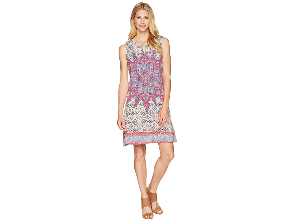 Tribal Printed Jersey Sleeveless Dress (Hi Pink) Women