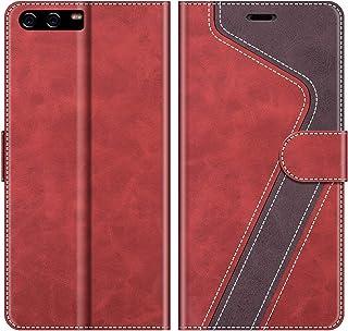 MOBESV Funda para Huawei P10, Funda Libro Huawei P10, Funda Móvil Huawei P10 Magnético Carcasa para Huawei P10 Funda con Tapa, Elegante Rojo