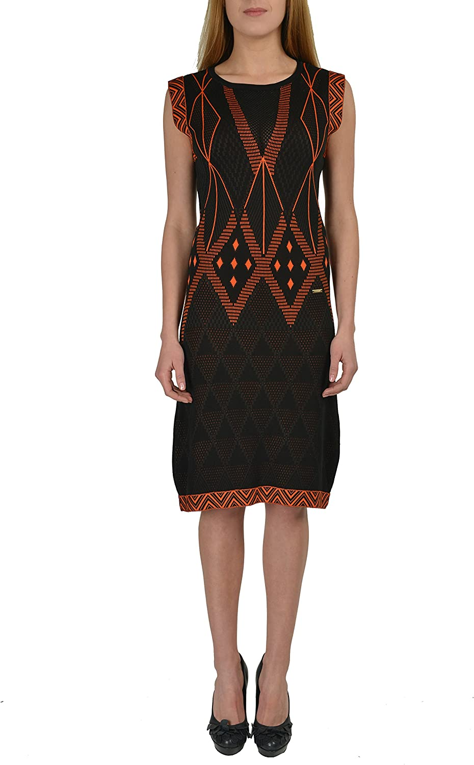Just Cavalli Multicolor Cap Sleeves Women's Knitted Dress US S IT 40