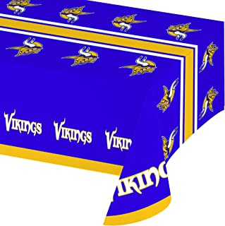 Creative Converting Officially Licensed NFL Plastic Table Cover, 54x102, Minnesota Vikings