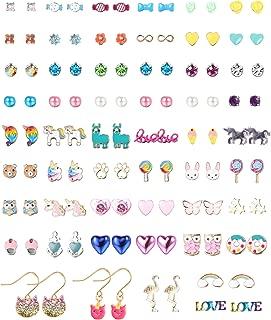 Cute Assorted Earrings Set Drop Dangle Stud Earrings Colorful CZ Flower Animal Earrings Jewelry Set Gift for Women