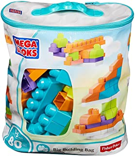 Mega Building Blocks with Building Bag, Trendy (80 Pieces)