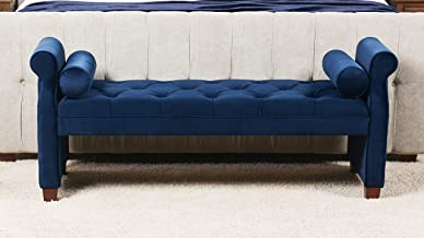 Jennifer Taylor Home, Entryway Bench, Navy Blue, Velvet, Hand Tufted, Hand Painted and Hand Rub Finished Legs