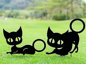 TT & MM Metal Cat Garden Stake Yard Decor - Black Cartoon Couple Cats Yard Art Decor for Indoor Outdoor Home Gifts Set