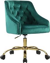 MOJAY Modern Home Office Chair, Velvet Swivel Armchair, Velvet Office Chair with Soft Seat, Adjustable Task Chair Computer...