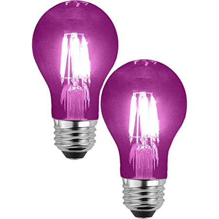 SleekLighting LED 4Watt Filament A19 Purple Colored Light Bulbs – UL Listed, E26 Base Lightbulbs – Energy Saving - Lasts for 25000 Hours - Heavy Duty Glass - 2 Pack