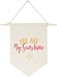 The Cotton & Canvas Co. You are My Sunshine Hanging Wall Canvas Banner for Baby Girl, Baby Boy, Nursery, Teen and Kids Room