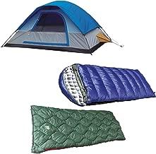 Alpinizmo High Peak USA Magadi 5 Tent + Kodiak 0F and Ranger 20F Sleeping Bag Combo Set, Blue/Green, One Size