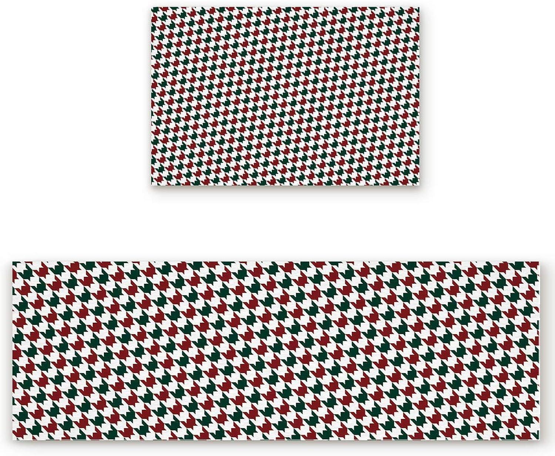 KAROLA 2 Piece Kitchen Mat Non-Slip Doormat Bathroom Runner Rug Set - Houndstooth Pattern 23.6 x35.4 +23.6 x70.9