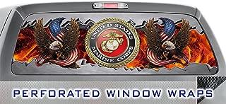 ITI Global Designs MARINE CORP 002 WINDOW WRAP : USA : Metal : Eagle : Flames : Truck Car Rear Decal Sticker