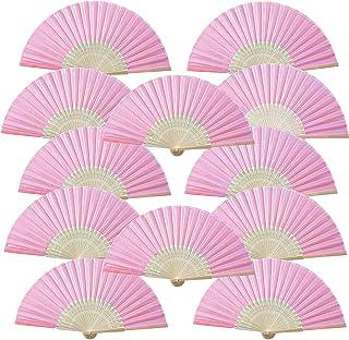 Vordas Welecoco Abanico Plegable de Mano, 12 Piezas Rosa Abanico Decoración Plegable Bambú Ventilador Banquete de Boda Regalo del Favor del Partido con Bolsa de Hilo Rosa