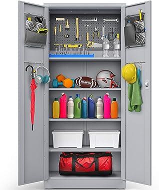 METALTIGER Metal Storage Cabinet - Multifunctional Garage Storage Closet with Doors, Adjustable Shelf Height and Leg Levelers