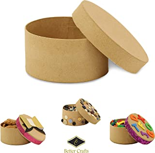 Round Paper-Mache Box DIY Gift Box with Lid by Better Crafts (Pack of 12)