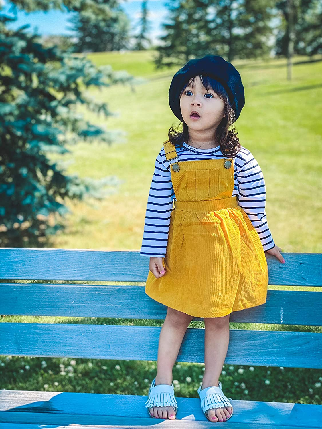 Toddler Baby Girls Skirt Sets Striped Long Sleeve Tops Suspender Skirt 2Pcs Fall and Winter Girl Dress Set Outfits