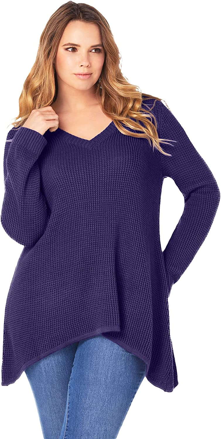 Roamans Women's Plus Size V-Neck Thermal Waffle Pullover - 14/16, Midnight Violet Purple