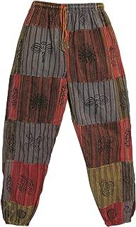 Mens Stonewashed Cotton Bohemian Vintage Yoga Ethnic Print Patchwork Harem Pants