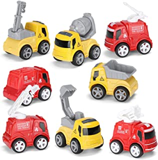 Hautton Diecast Car Vehicles Toy Set, Mini 4 Engineering Vehicles and 4 Fire Trucks Alloy Metal Model Cars Playset Toy Car...