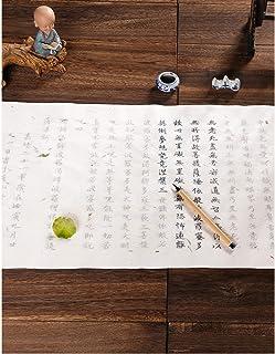 般若心経 写経用紙セット 花びらと木の葉画仙紙生地 (10枚入り写経紙+筆ペン) なぞり書き 手本付き 大きいサイズ67cm×35cm 行幅ー⒉5cm