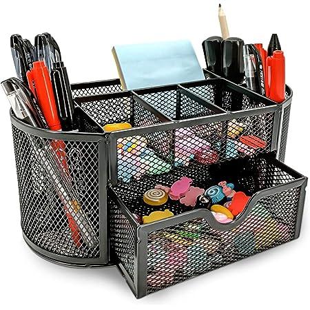 MDHAND Organisateur de bureau et accessoire, organisation de bureau en filet, organisateurs de bureau et rangement avec tiroir (9 cells-black)