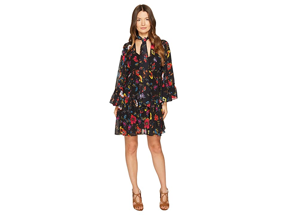 McQ V-Neck Short Volume Dress (Acid Floral) Women