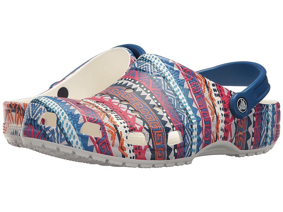 Crocs Classic Graphic Clog (Blue Jean/White) Clog/Mule Shoes