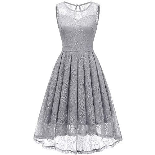 107ffa6409f Gardenwed Women s Vintage Lace High Low Bridesmaid Dress Sleeveless Cocktail  Party Swing Dress