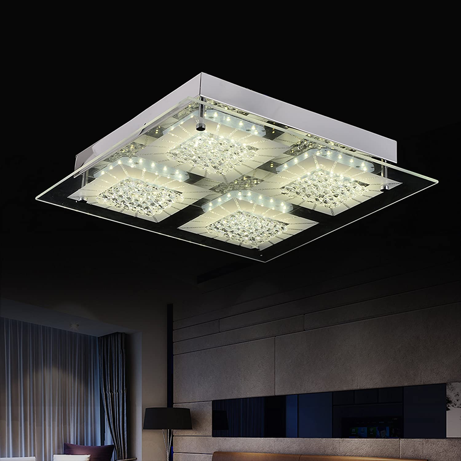 AUDIAN Flush Mount Ceiling Light Ceiling Lamp Modern K9 Crystal Bead Ceiling Flush Mount Dimmable LED 24W (180W Incandescent Bulb Equivalent)14.2inch 4000K for Gangway Corridor Bedroom Bathroom