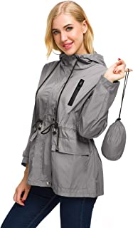 AKEWEI Packable Rain Jacket Women Waterproof Lightweight Raincoat with Bag for Travel