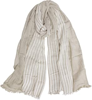 GERINLY Cotton-Linen Scarves Mens Stripe Crinkle Long Scarf