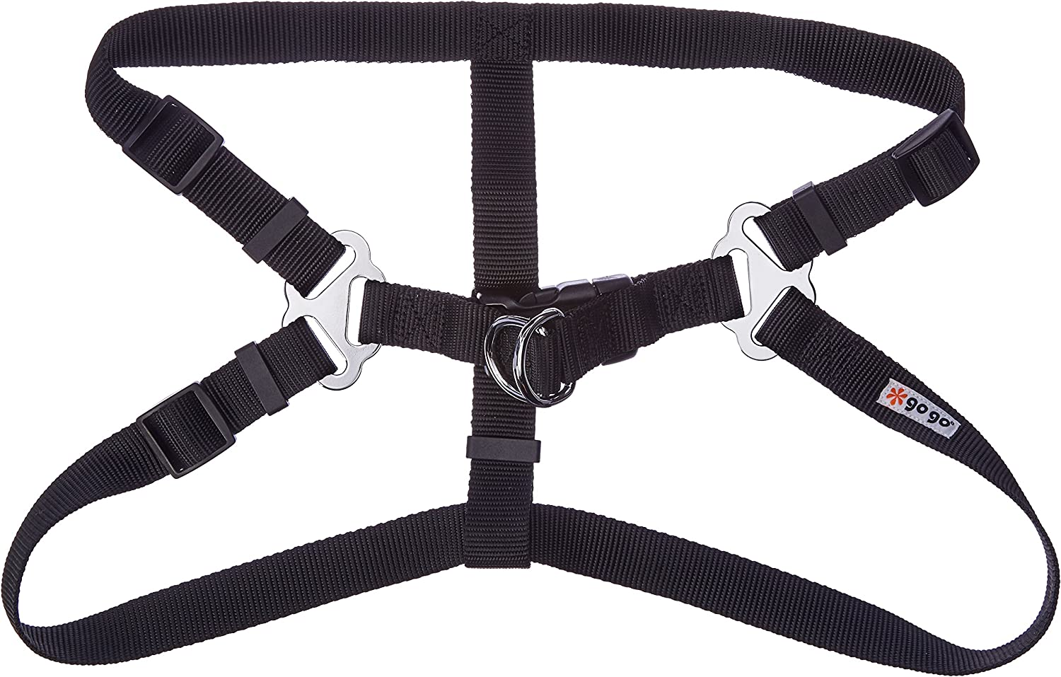 GoGo Pet Products Comfy Nylon 1Inch Adjustable Easy Pet Harness, Large, Black