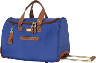 Steve Madden Designer Carry On Luggage Collection - Lightweight 20 Inch Duffel Bag- Weekender Overnight Business Travel Suitcase with 2- Rolling Spinner Wheels (Global Blue)